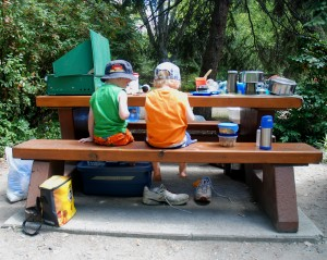 Kids having fun at a picnic table - Canadian RVing and Camping Week