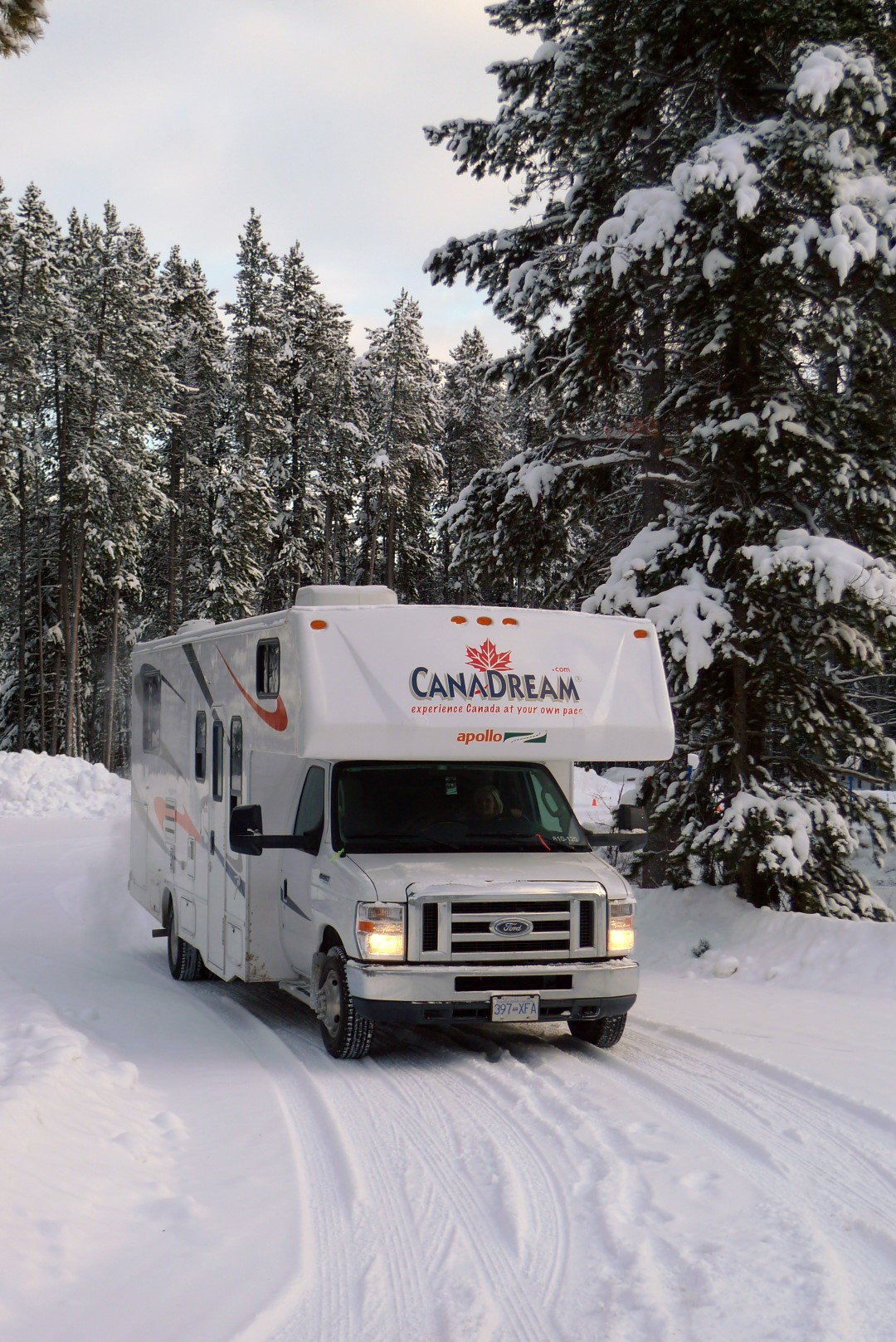A canadream rental RV travelling in the winter