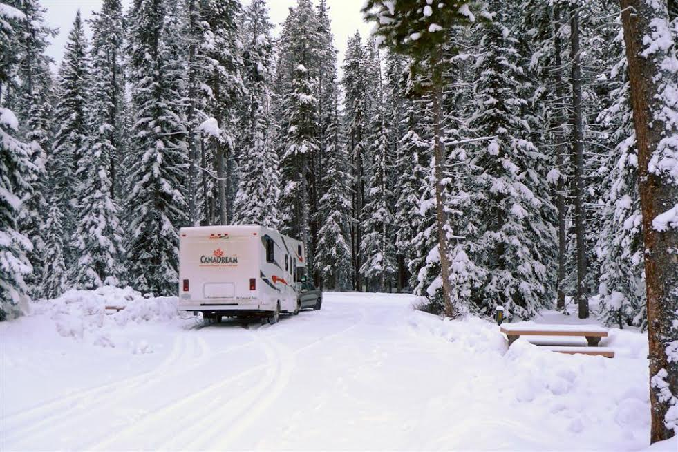 Canadream RV at a campsite in the winter