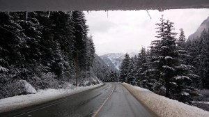 A picture of the wintery landscape along Highway 1