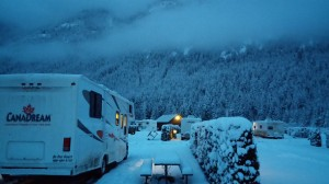 Canadream RV camping at Sunshine Valley Resort in the snow