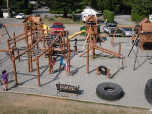 Children having fun at Camperland's playground in Bridal Falls