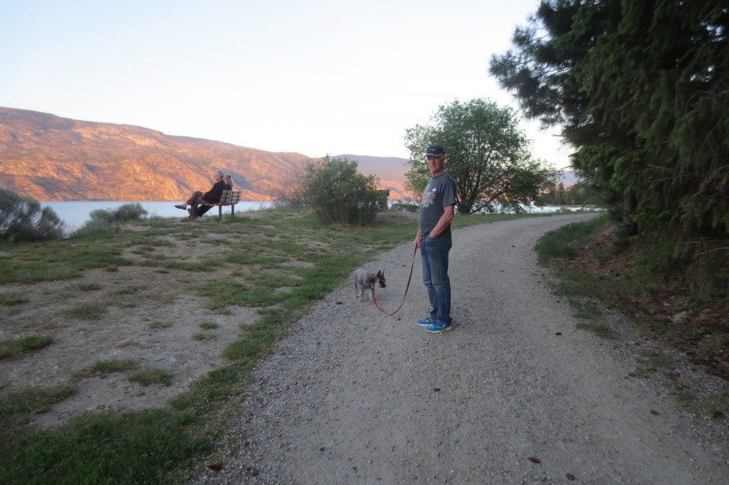 Man and dog walking on a lakeshore trail.
