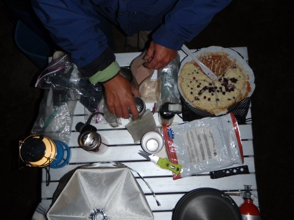 Making dinner while camping