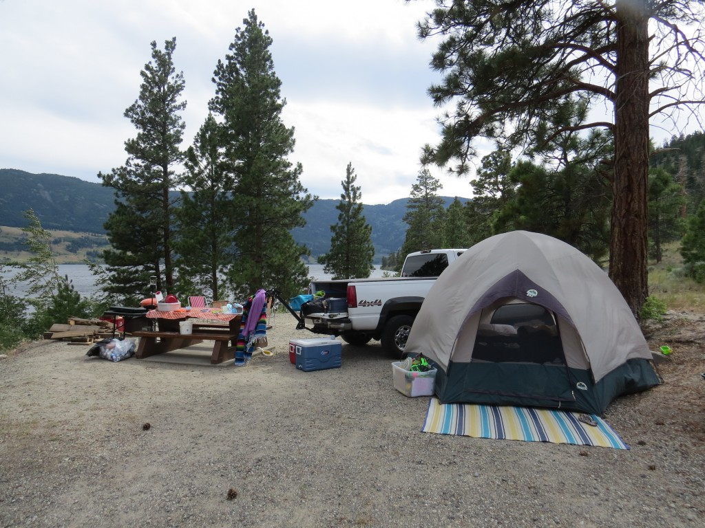 campsite with lakeview