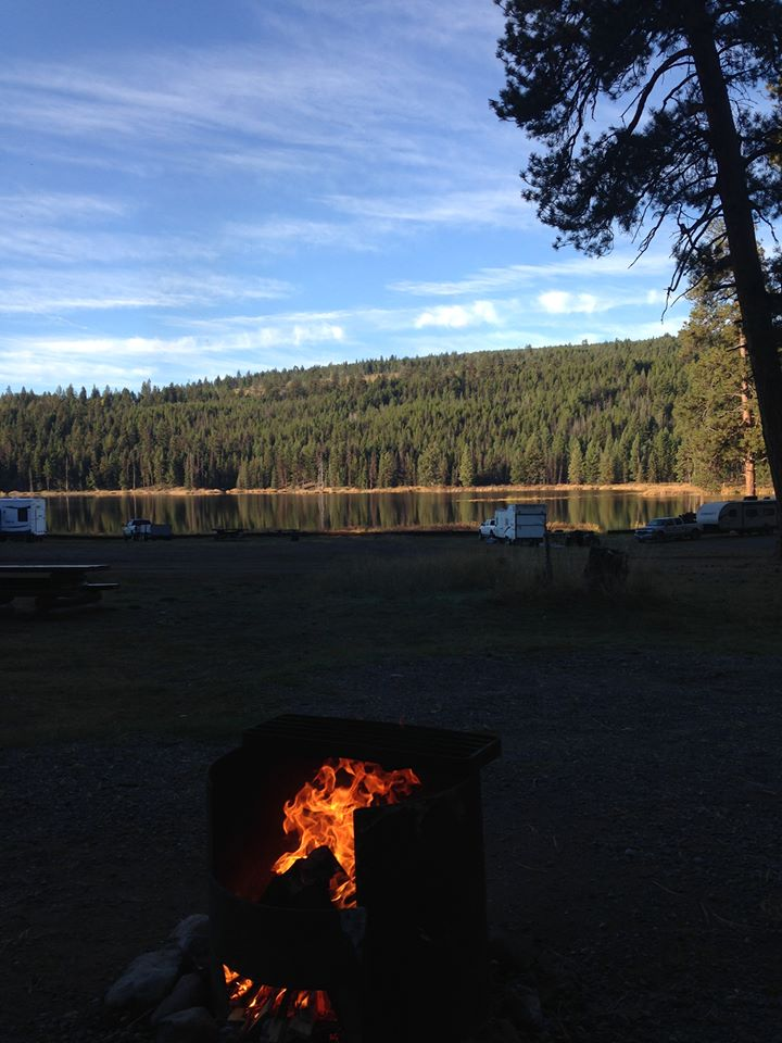 Campfire in a campground
