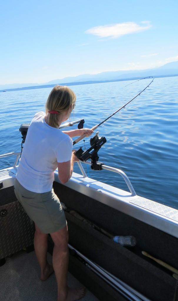 Women catching a fish