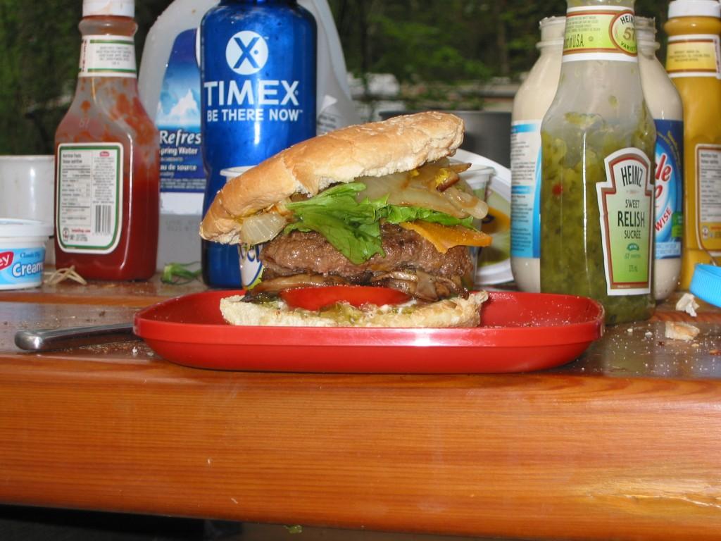 A delicious camping hamburger