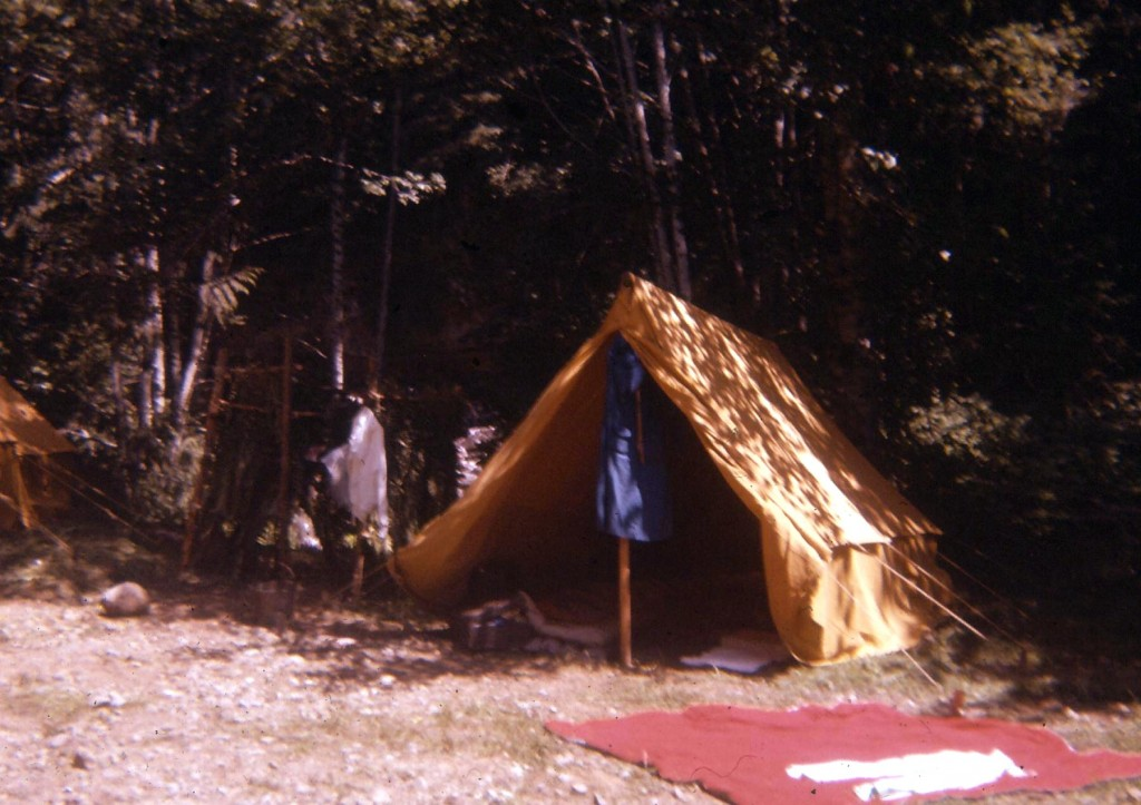 A picture of a canvas tent at a campsite in 1959 at Englishman River