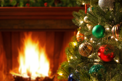 Picture of Christmas Tree in front of fire