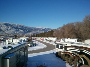 RV's in a campground during winter