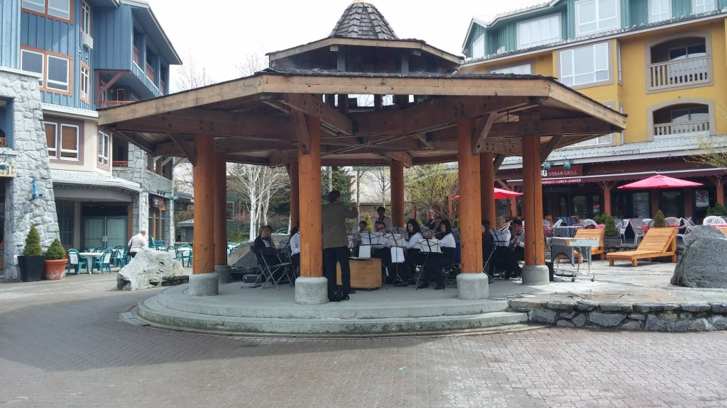 Ochestra playing in outdoor gazebo