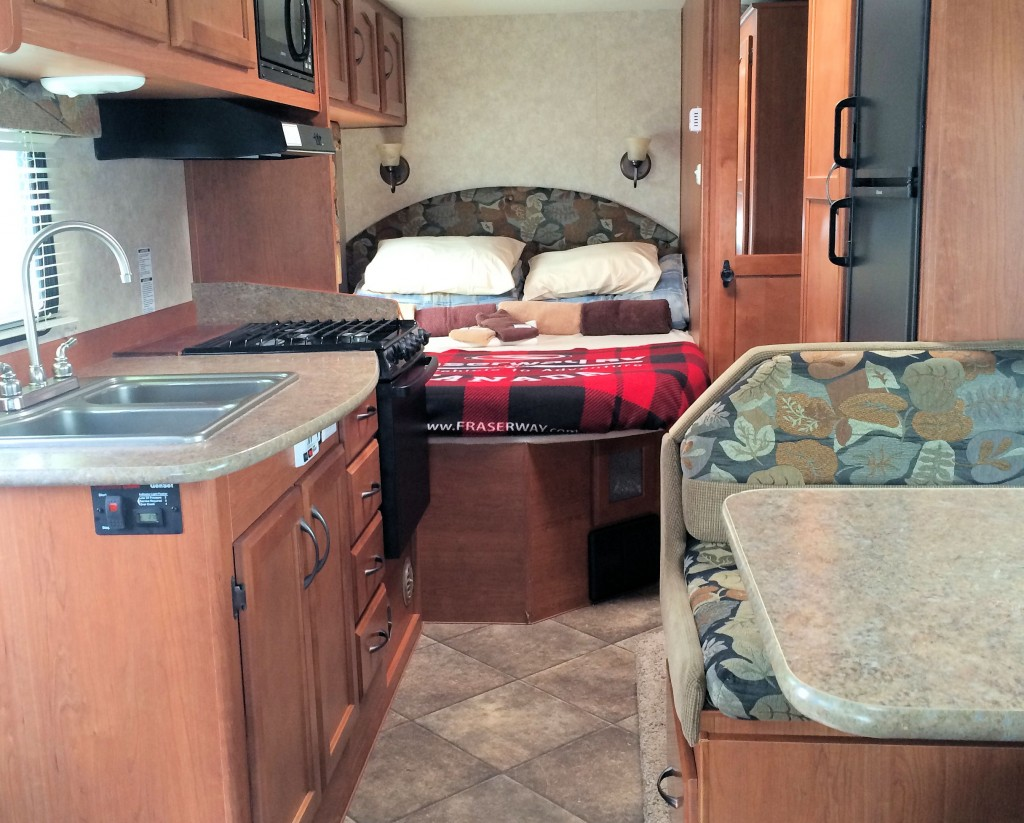 The bedroom inside an RV rental