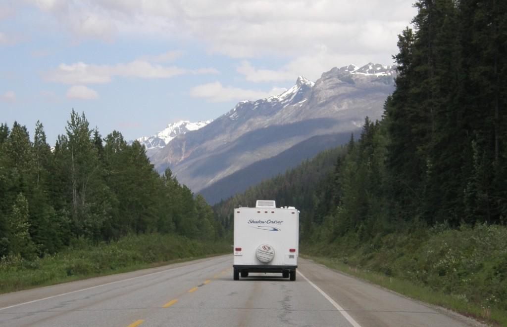 RV travelling down a highway