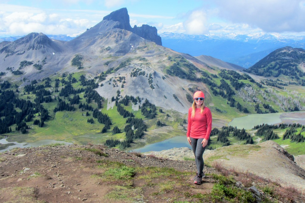 A female hiker at the top of Panorama Ridge