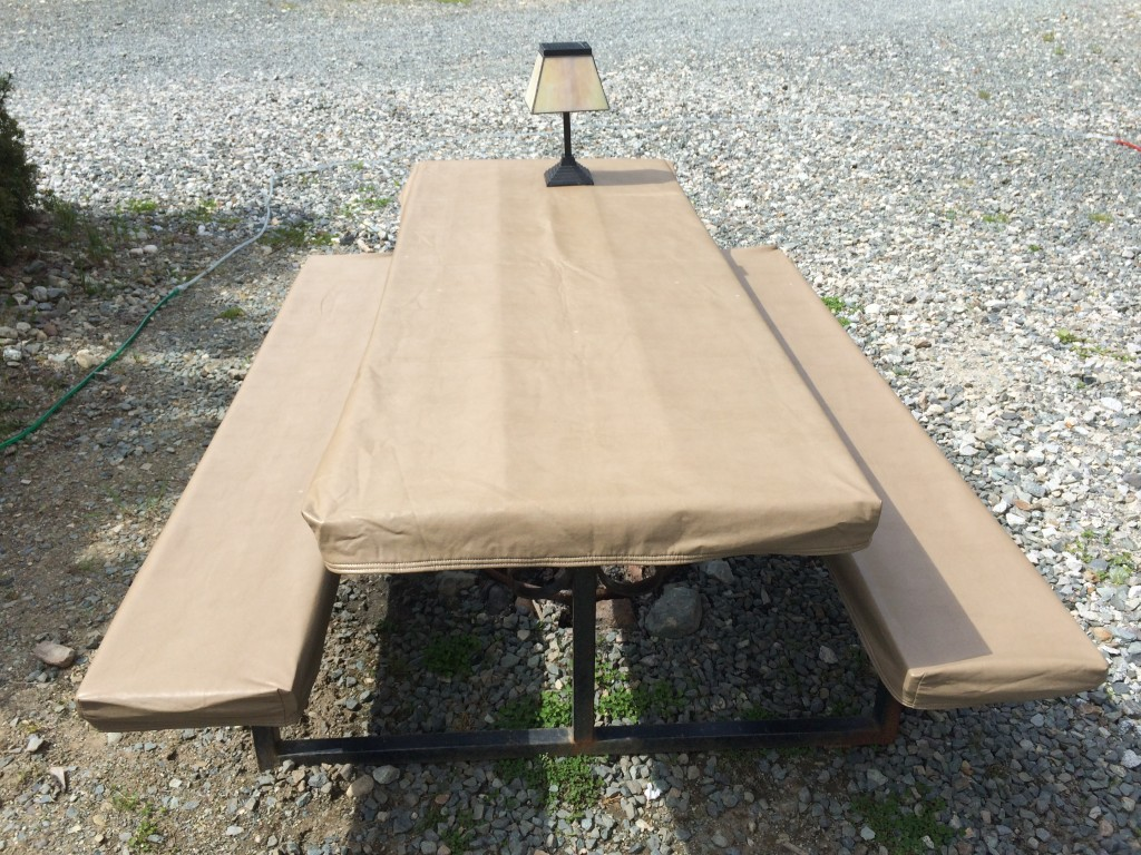 Table cloth and lamp on picnic table