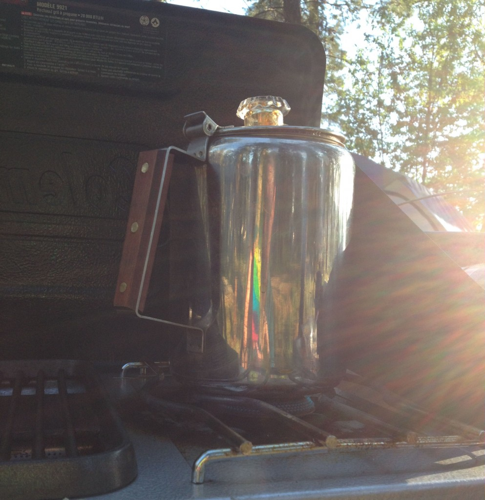 coffee pot on a coleman campstove