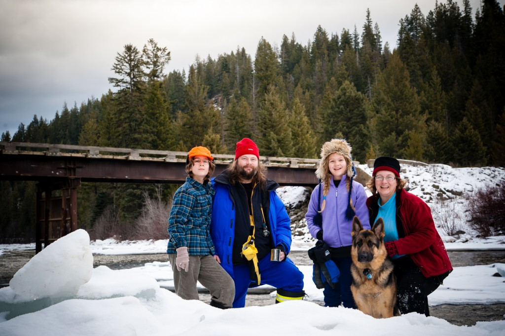 Family camping in the winter time