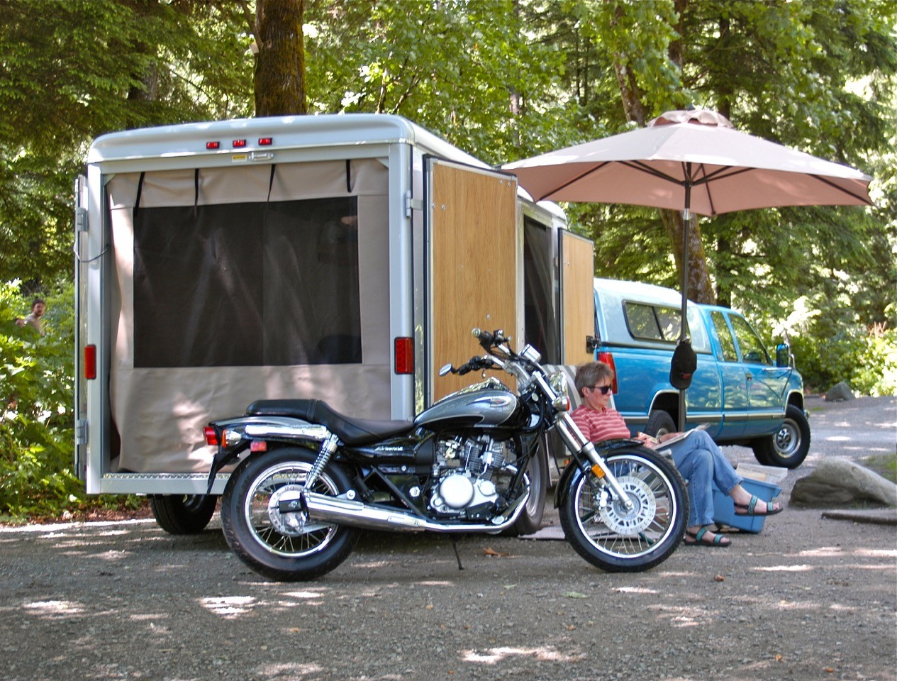 Utility Trailer RV conversion with room for the bike