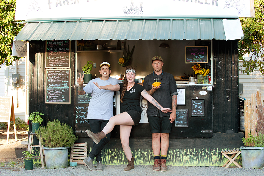 Chef Brooke Winters with Chefs Danny Smiles & Chuck Hughes on Salt Spring Island