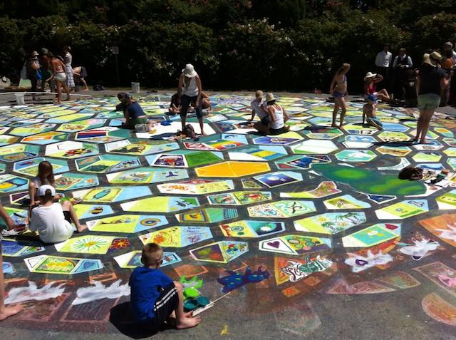 Painting the Roberts Creek Mandala Photo: Mary Ann Bell