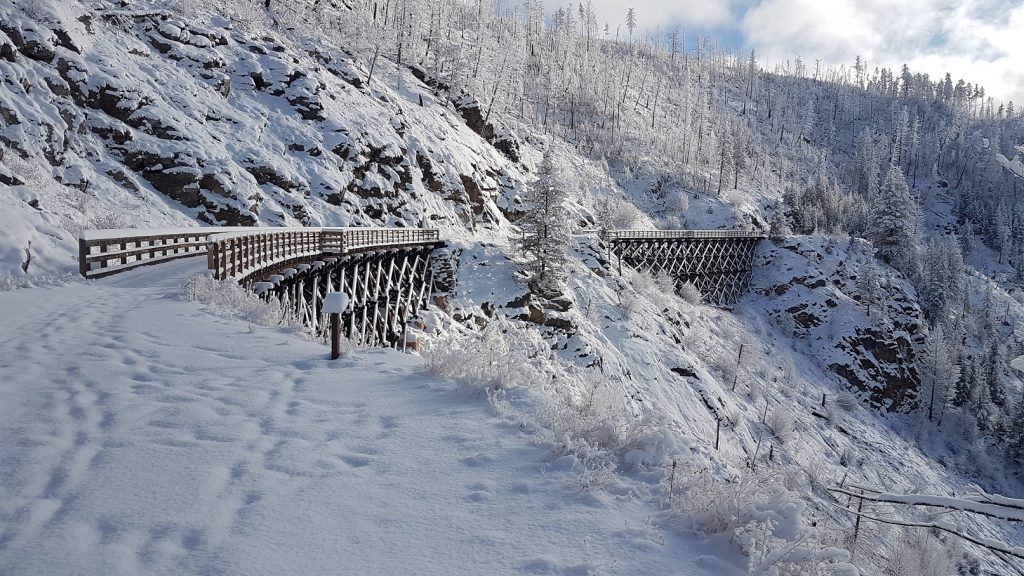 Trestle 11 and 12 on the Myra Canyon in Winter. Photo Credit Monashee Adventure Tours