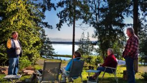 Happy Retirees Relaxing at Living Forest Campground in Nanaimo
