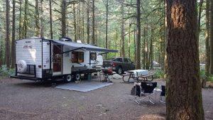 RV set up on campsite