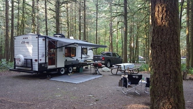 RV set up on campsite